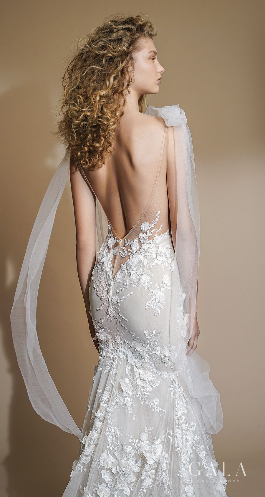 galia lahav gala 2019 bridal sleeveless with strap deep plunging v neck full embellishment sexy romantic trumpet mermaid wedding dress low open back chapel train (104) zbv