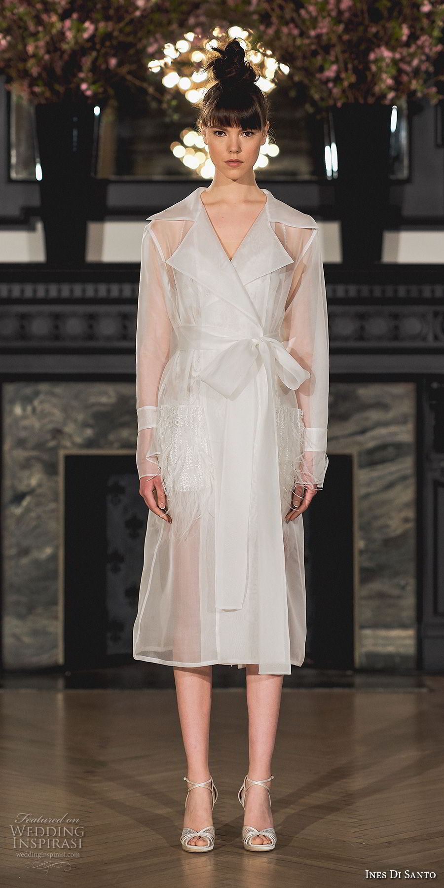 ines di santo spring 2019 bridal long sleeves trench coat simple modern short wedding dress (15) mv