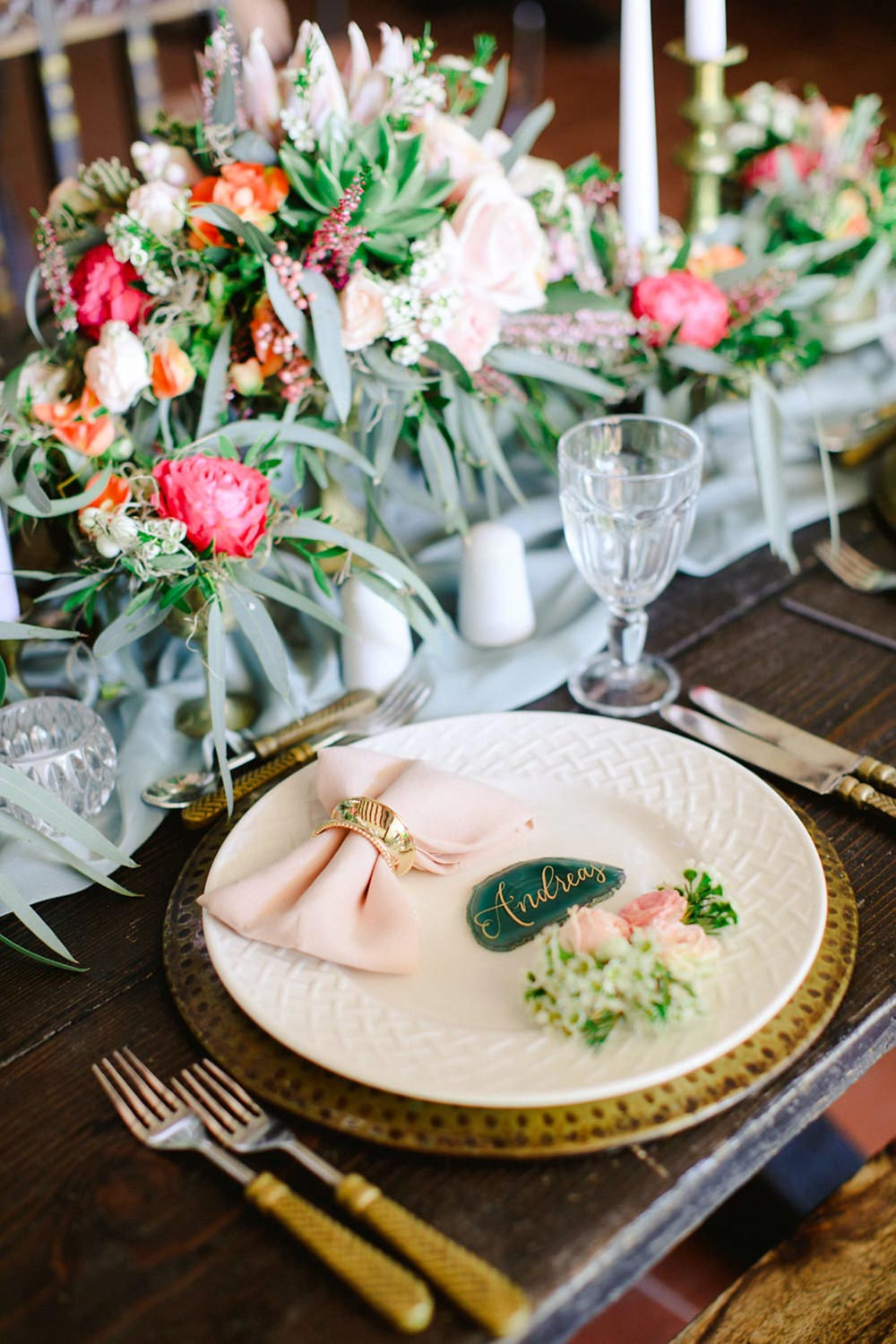 romantic wedding place setting with agate place cards