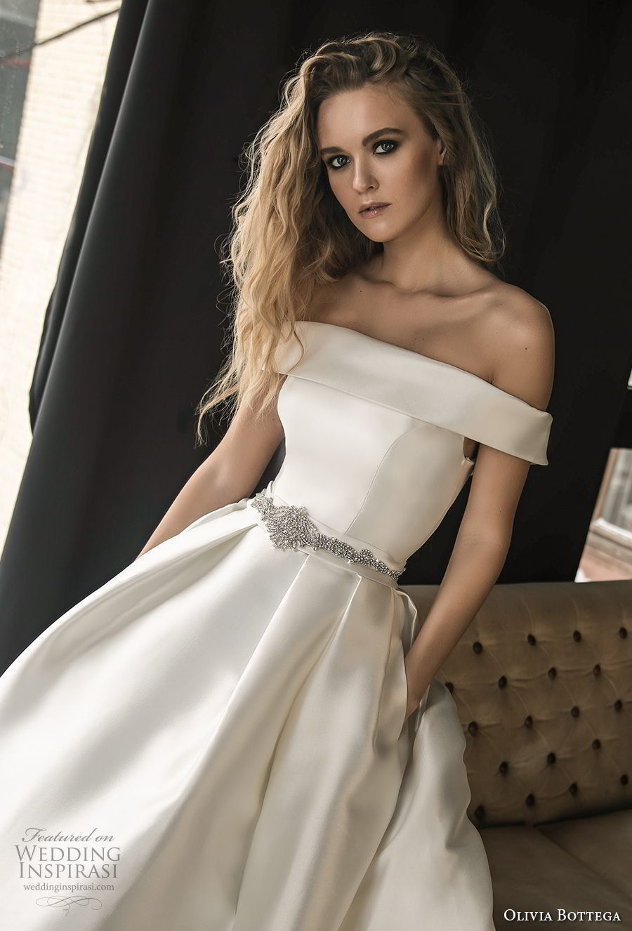 olivia bottega 2018 bridal off the shoulder straight across neckline simple clean elegant classic elegant ball gown a line weding dress with pockets chapel train (5) zv
