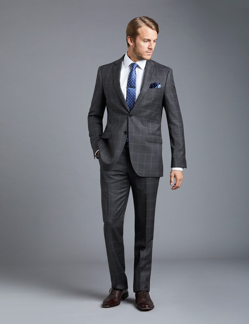 Check-Printed-Suit-with-Black-Shoes 30 Best Charcoal Grey Suits with Black Shoes For Men