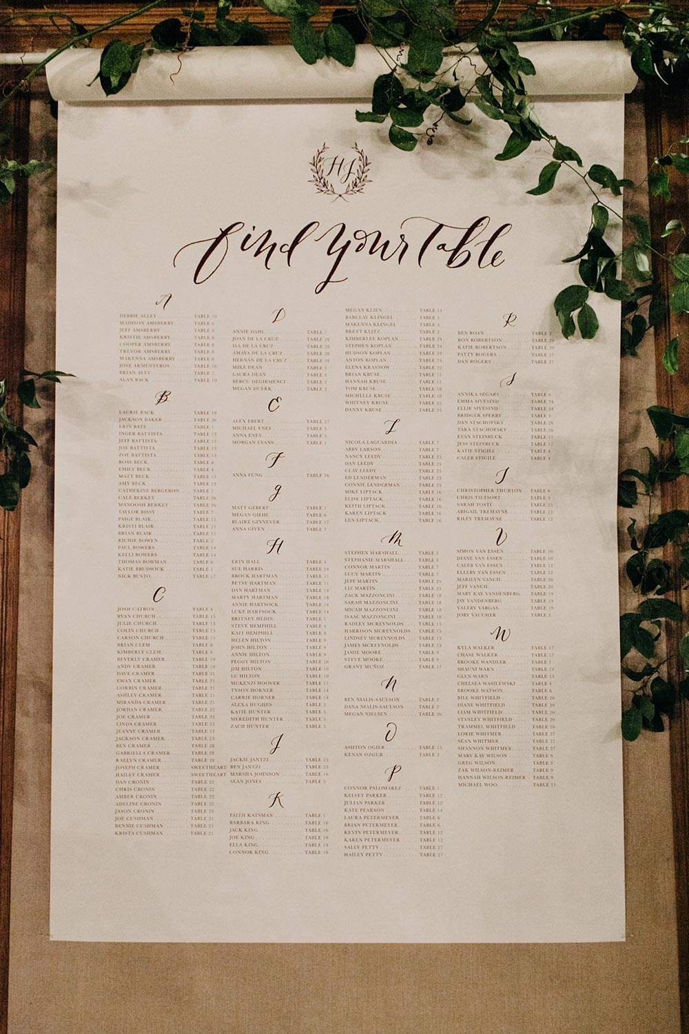 classic scroll wedding guest seating chart