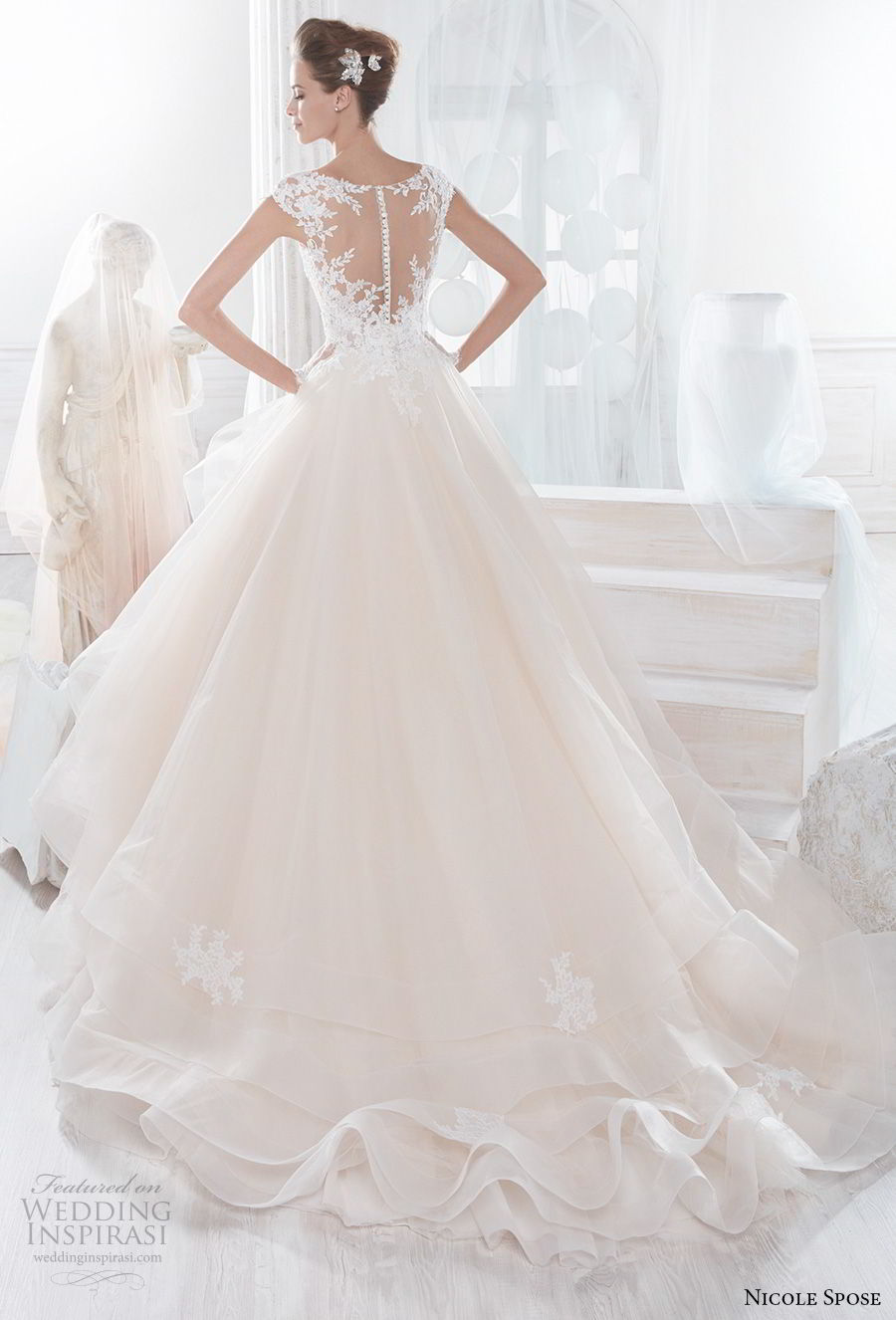 nicole spose 2018 bridal cap sleeves v neck heavily embellished bodice layered skirt romantic blush a line wedding dress sheer button back chapel train (7) bv
