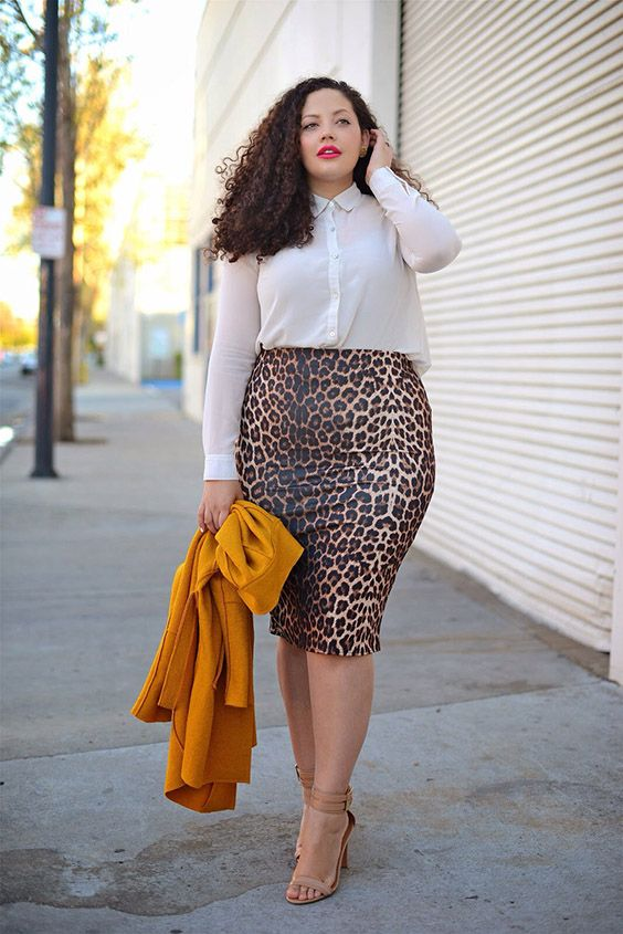 a leopard print pencil skirt, a white blouse, nude shoes and a yellow jacket for a bold spring look