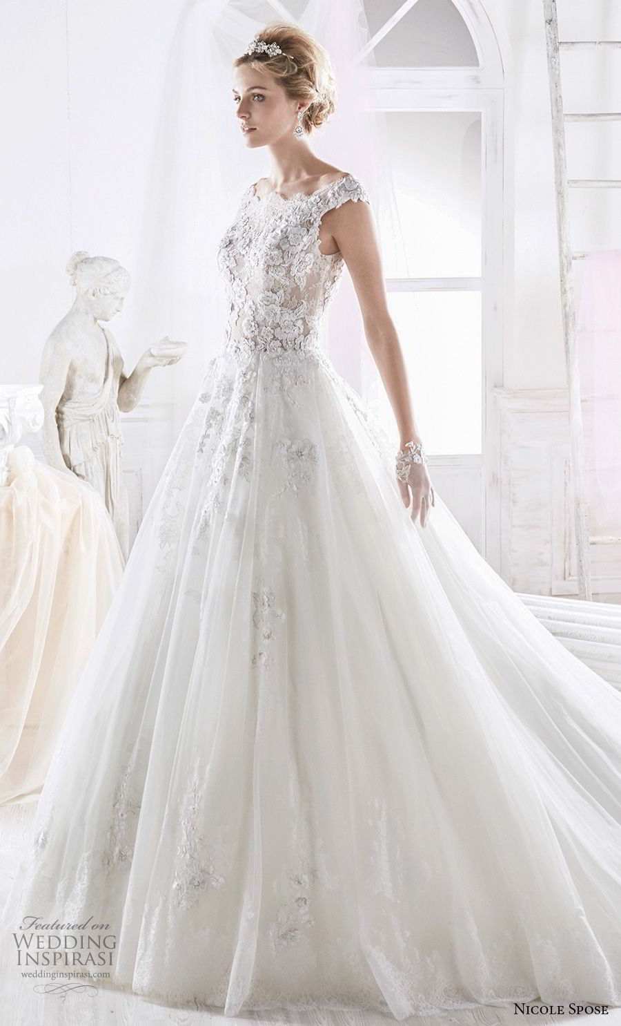 nicole spose 2018 bridal cap sleeves bateau neck full heavily embellished bodice romantic a line wedding dress sheer lace back chapel train (2) mv