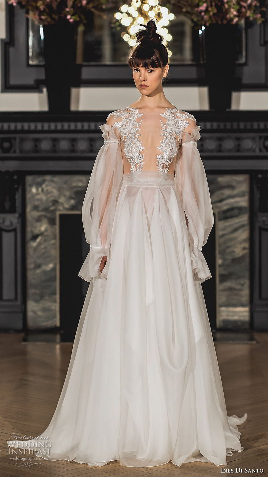 ines di santo spring 2019 bridal long bishop sleeves deep plunging v neck heavily embellished bodice sexy a line wedding dress sweep train (10) mv