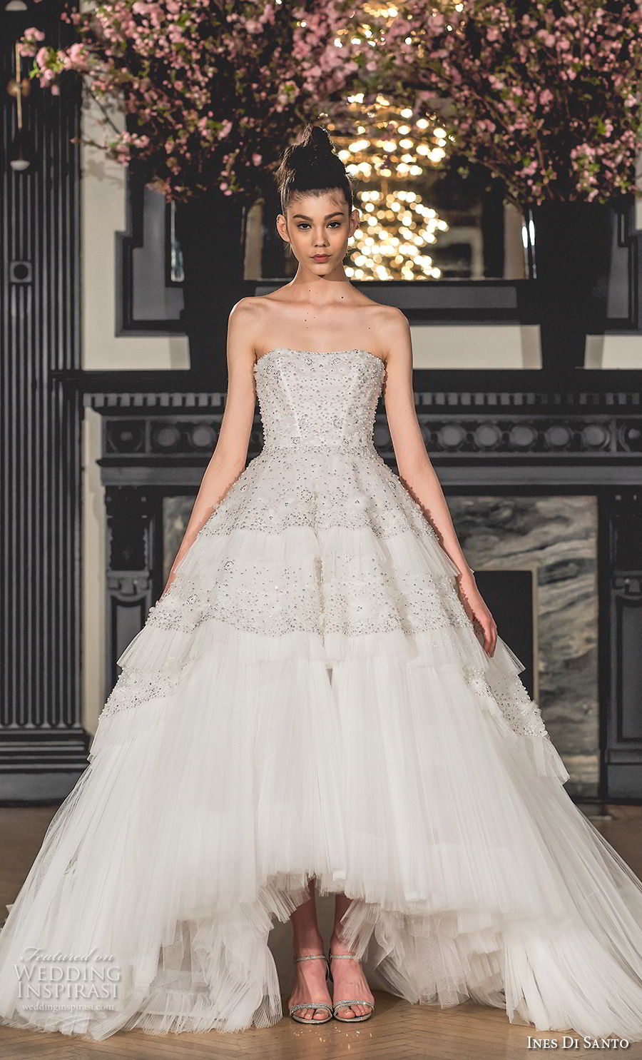 ines di santo spring 2019 bridal strapless semi sweetheart neckline heavily embellished bodice romantic a line wedding dress chapel train (11) mv