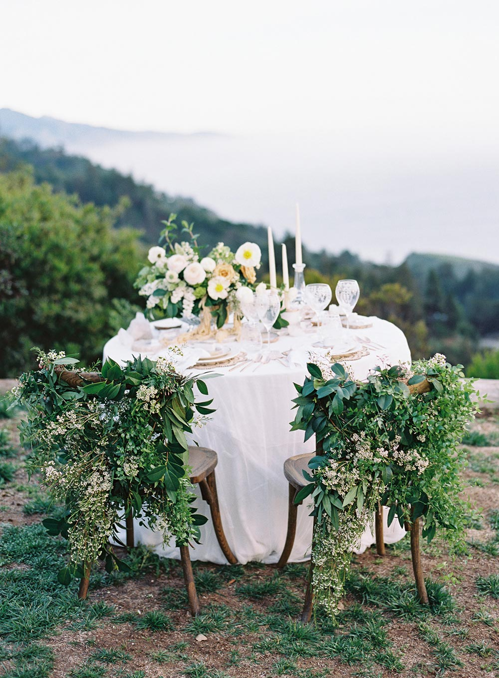 garland chair swag wedding tablescape