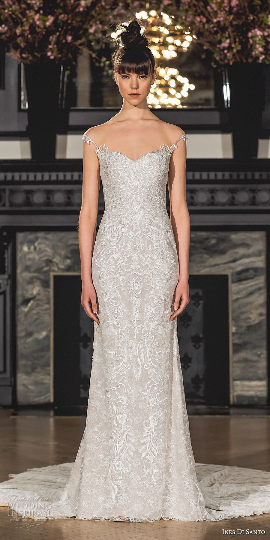 ines di santo spring 2019 bridal cap sleeves semi sweetheart neckline full embellishment elegant sheath wedding dress chapel train (16) mv
