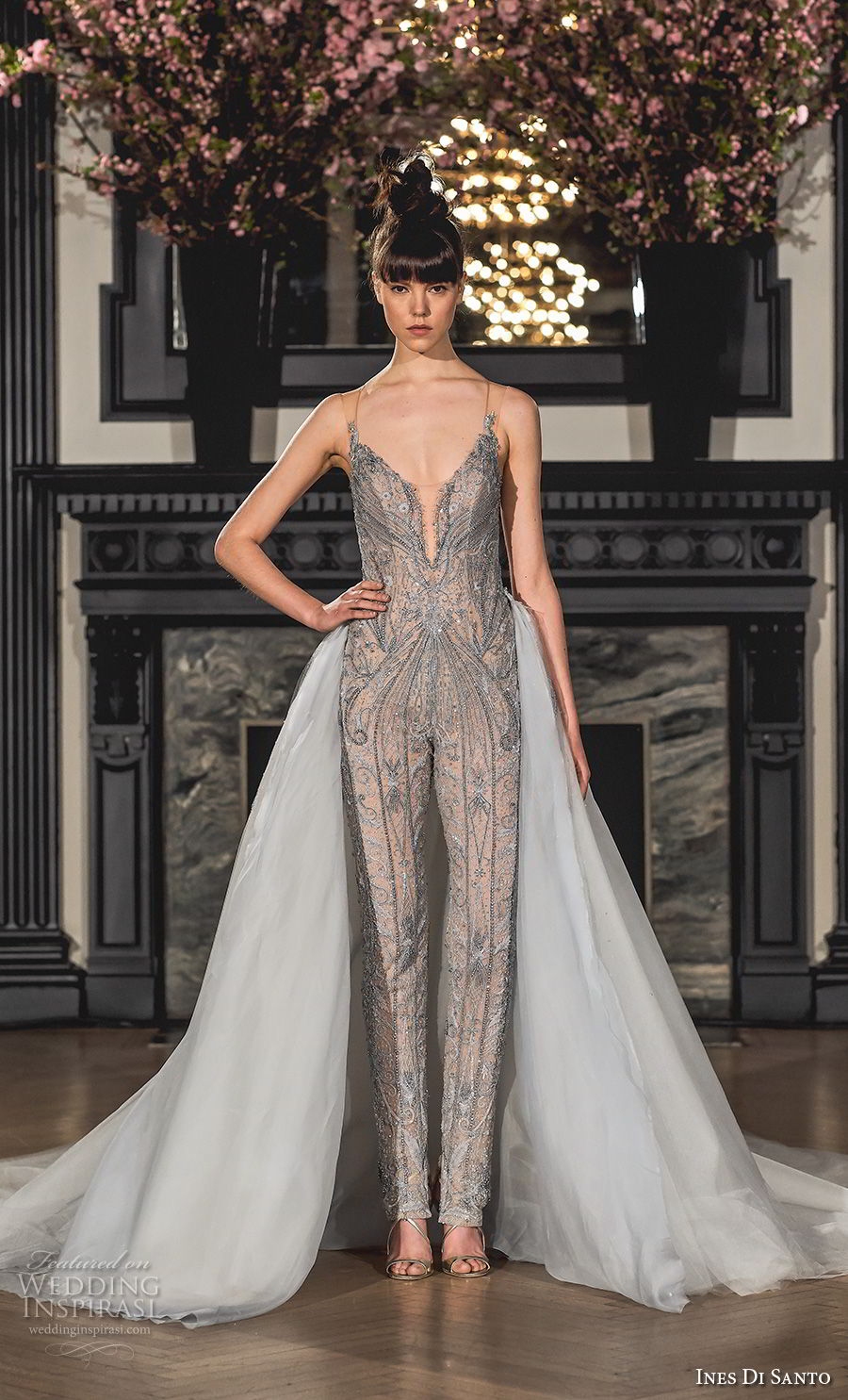 ines di santo spring 2019 bridal sheer strap deep plunging sweetheart neckline full embellishment gray pants jumpsuit wedding dress a line overskirt chapel train (17) mv