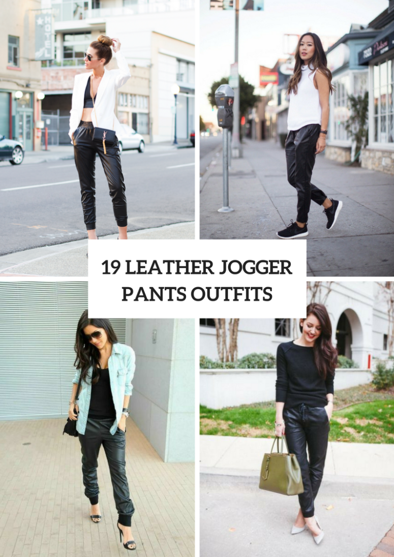 Comfy Outfits With Leather Jogger Pants