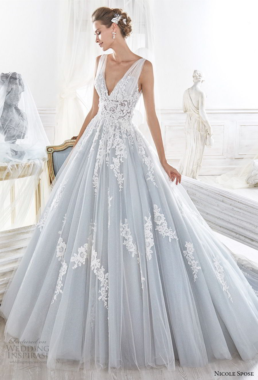 nicole spose 2018 bridal sleeveless v neck heavily embellished bodice romantic blue a line wedding dress open v back chapel train (9) mv
