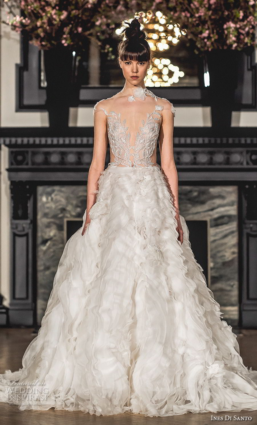 ines di santo spring 2019 bridal cap sleeves illusion high neck heavily embellished bodice ruffled skirt romantic glamorous a line wedding dress (5) mv