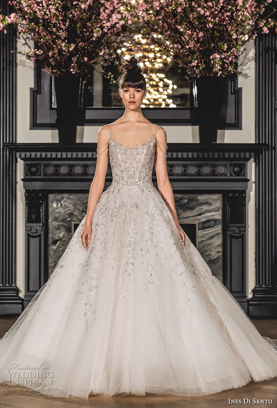 ines di santo spring 2019 bridal sleeveless sheer bateau scoop neckline heavily embellished bodice romantic a line wedding dress chapel train (3) mv