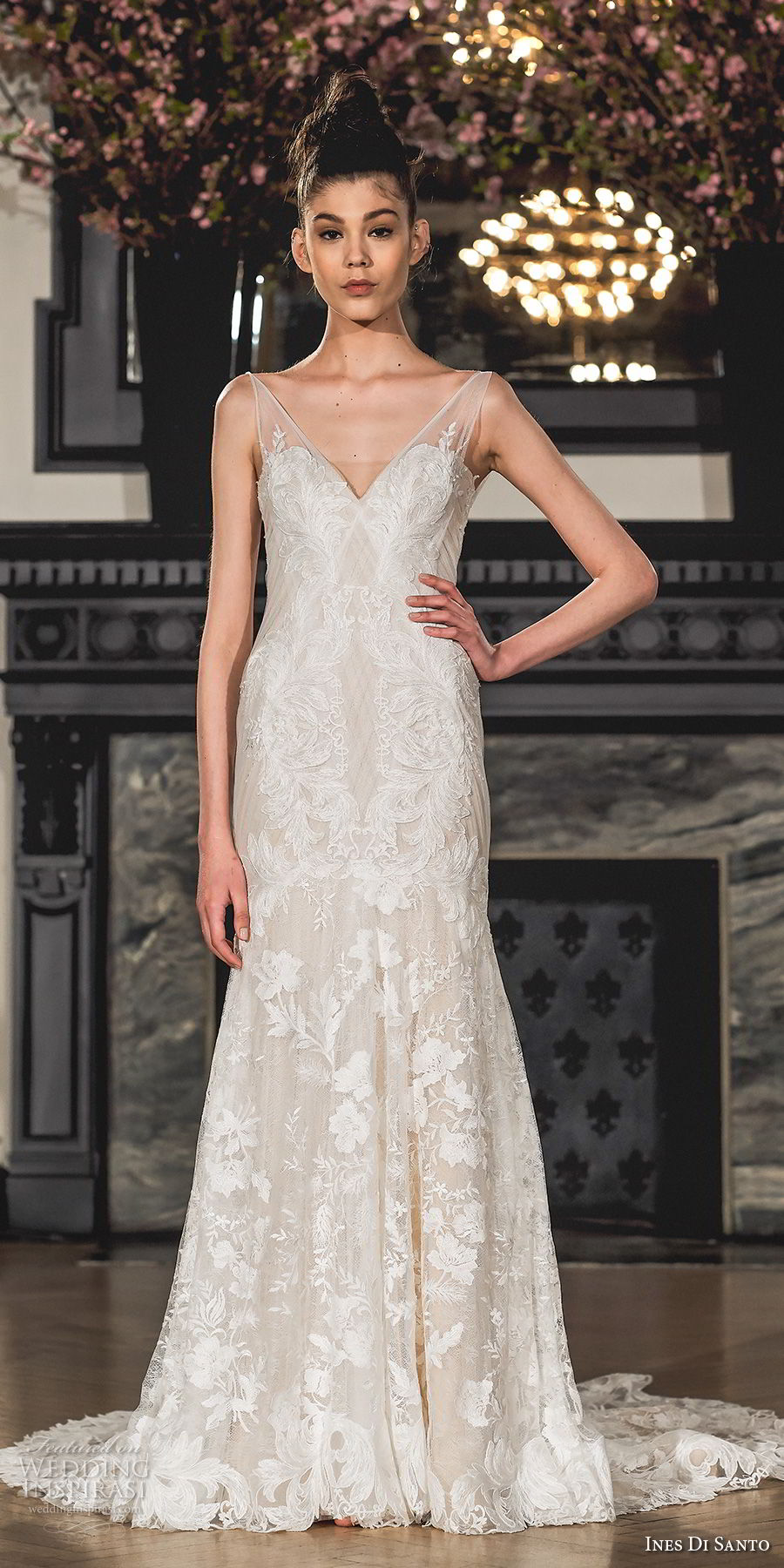 ines di santo spring 2019 bridal sleeveless sheer strap illusion v sweetheart neckline full embellishment elegant trumpet wedding dress chapel train (4) mv