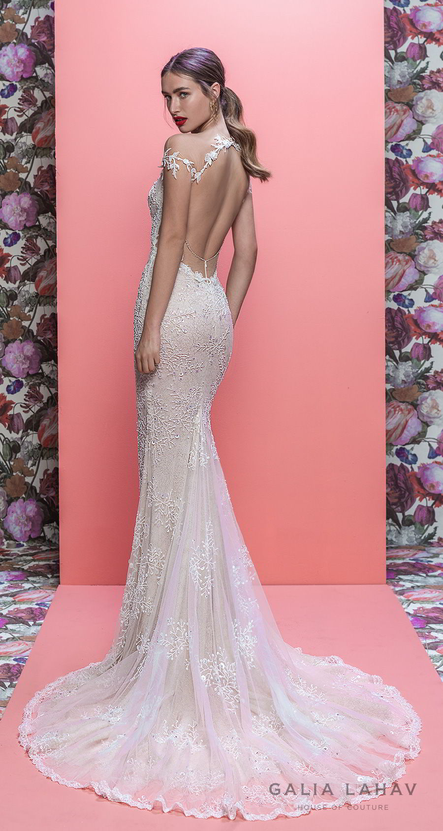 galia lahav spring 2019 bridal off the shoulder deep plugning sweetheart neckline full embellishment slit skirt fit and flare wedding dress keyhole back sweep train (marleigh) bv