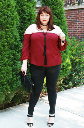Red-Top-with-Skinny-Pants-331x500 23 Ways to Style Plus Size Off-the-Shoulder Tops for Women