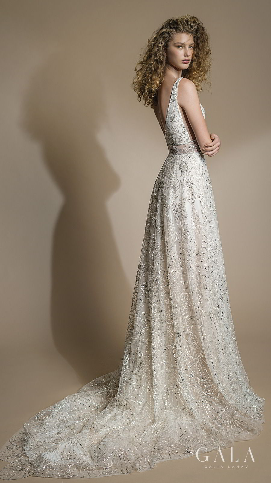 galia lahav gala 2019 bridal sleeveless with strap deep plunging v neck full embellishment elegant vintage romantic a line wedding dress v back chapel train (102) bv