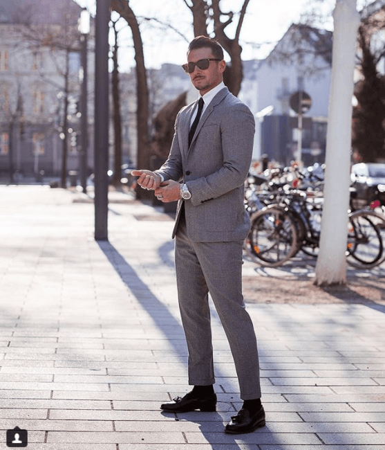 Charcoal-Suits-with-Tassel-Loafers 30 Best Charcoal Grey Suits with Black Shoes For Men