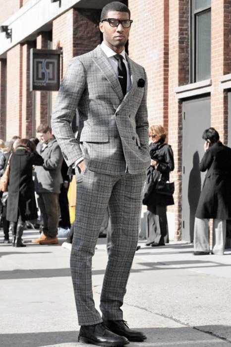 Gingham-Print-Grey-Suit-with-Black-Formals 30 Best Charcoal Grey Suits with Black Shoes For Men