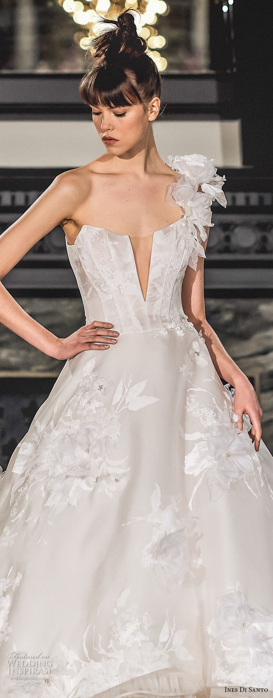ines di santo spring 2019 bridal one shoulder deep plunging v neck full embellishment romantic high low a line wedding dress chapel train (7) zv