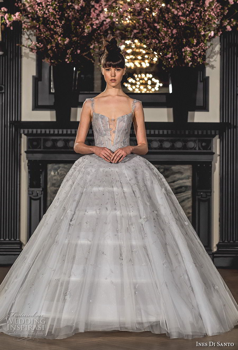 ines di santo spring 2019 bridal thin strap square neckline heavily embellishment romantic princess gray ball gown a line wedding dress (8) mv