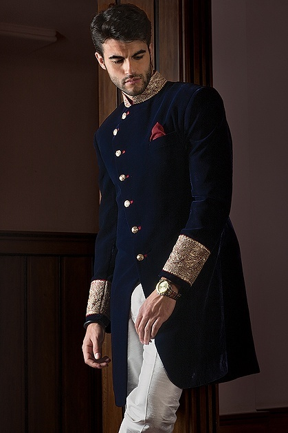 Velvet-shewarni-for-groom 20 Latest Style Wedding Sherwani For Men and Styling Ideas