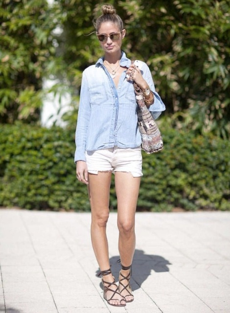 With denim shirt, mini shorts and printed tote