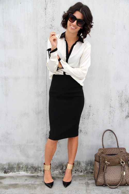 a black pencil skirt, a white and black shirt, black ankle strap shoes and a cool bag