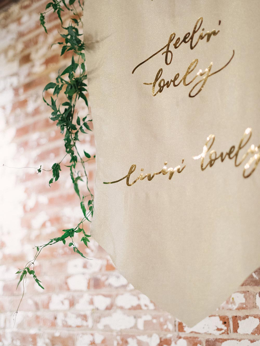 cloth wedding signage with calligraphy