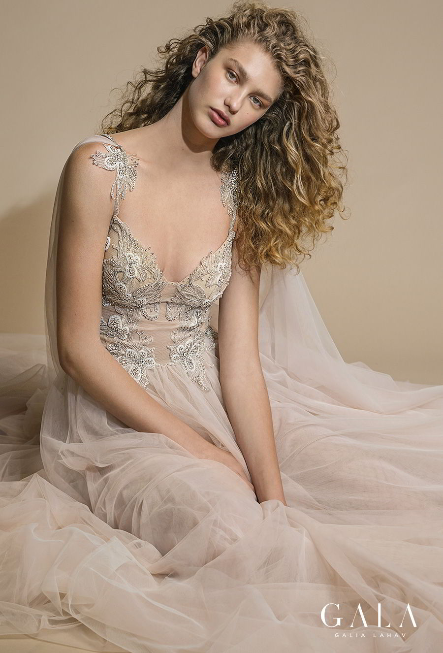 galia lahav gala 2019 bridal sleeveless with strap sweetheart neckline heavily embellished bodice bustier tulle skirt romantic blush a line wedding dress razor back chapel train (111) mv zv