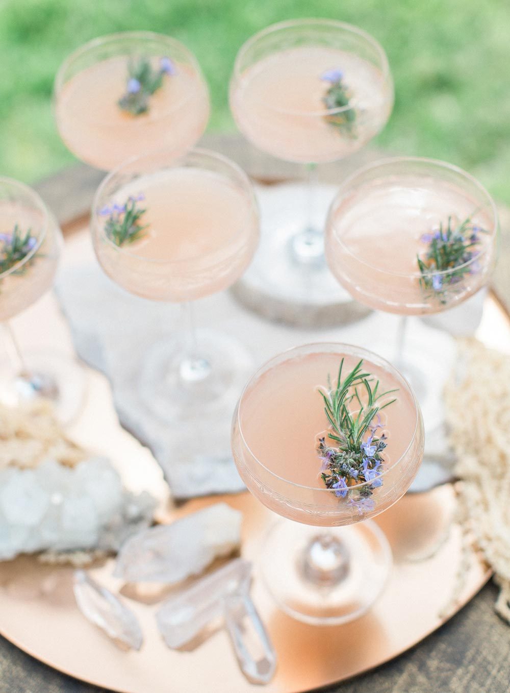 coupe glass pink wedding cocktails
