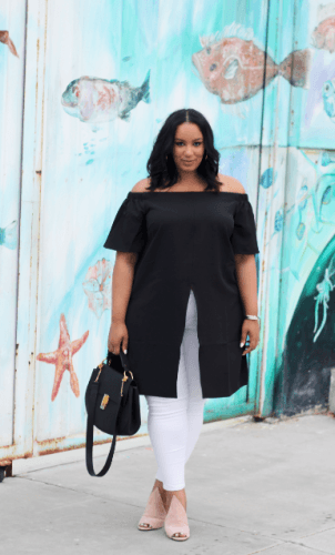 Off-Shoulder-Slit-Shirt-with-White-302x500 23 Ways to Style Plus Size Off-the-Shoulder Tops for Women