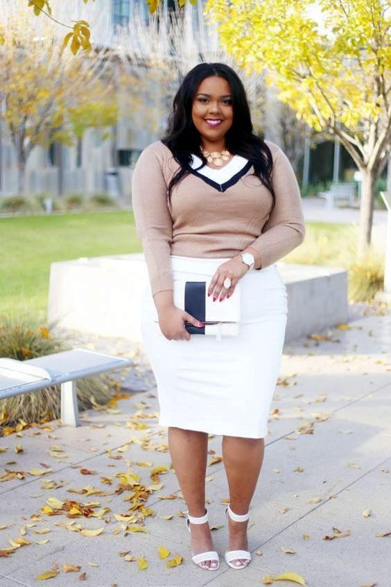 a white dress with a pencil skirt, white ankle strap shoes, a blush cardigan and a color block clutch