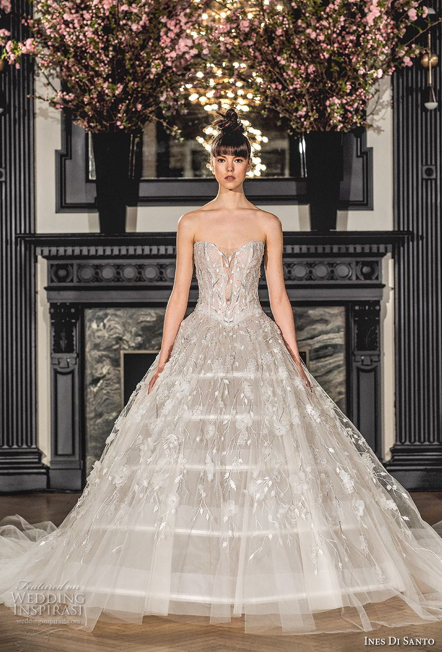 ines di santo spring 2019 bridal strapless sweetheart neckline full embellishment princess romantic ball gown a line wedding dress chapel train (1) mv
