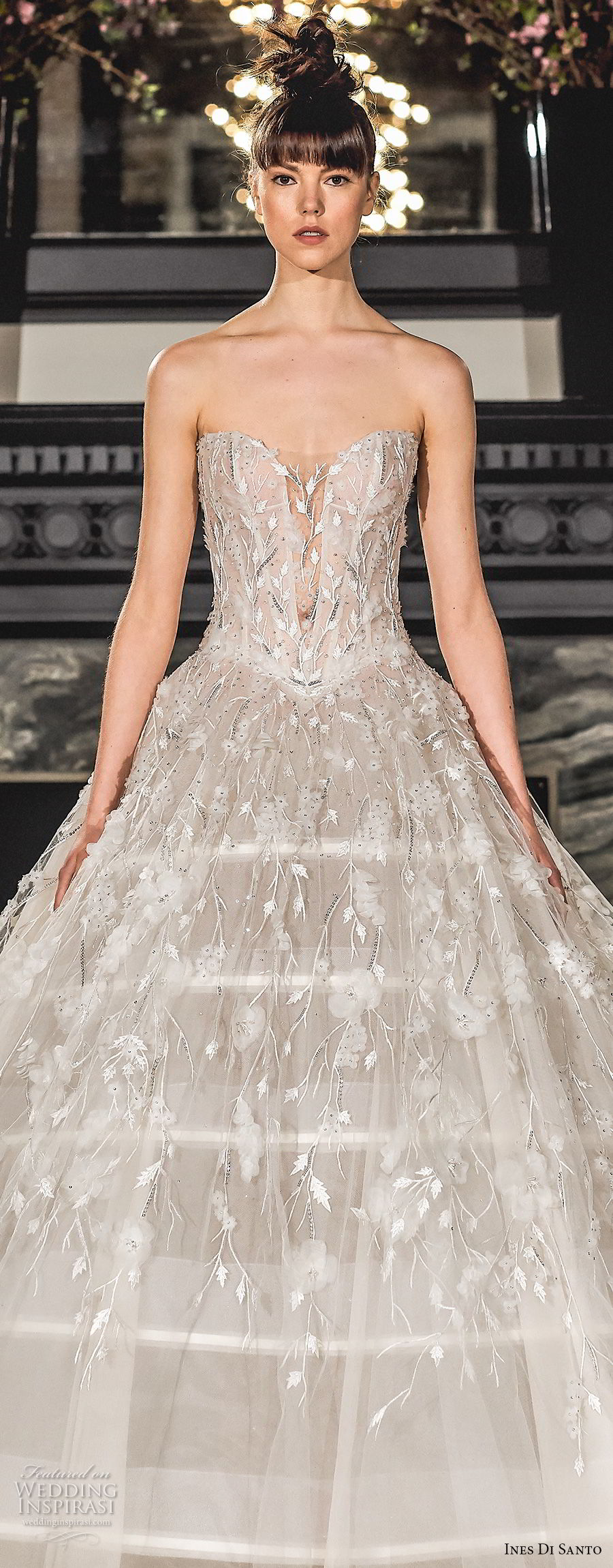 ines di santo spring 2019 bridal strapless sweetheart neckline full embellishment princess romantic ball gown a line wedding dress chapel train (1) zv