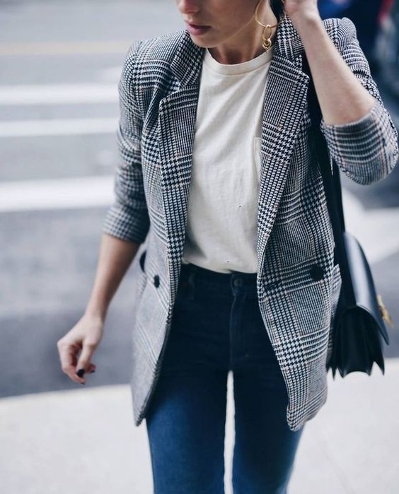 blue skinnies, a white tee and a plaid blazer for a stylish casual work look