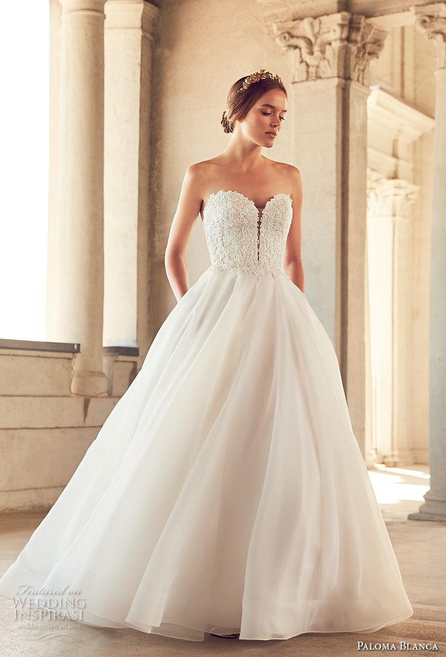 paloma blanca spring 2018 bridal strapless sweetheart neckline heavily embellished bodice romantic a line wedding dress with pockets chapel train (1) fv mv