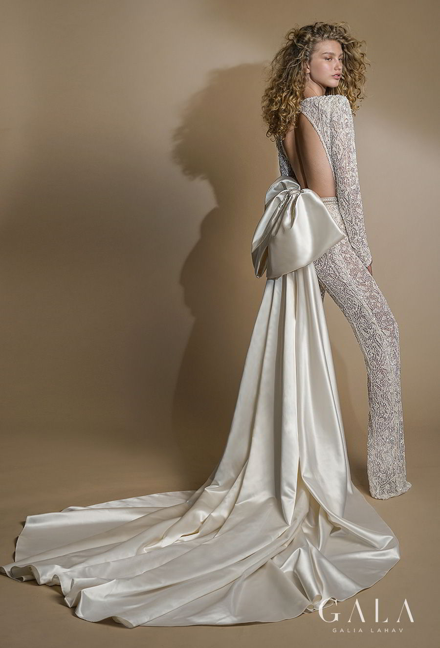 galia lahav gala 2019 bridal long sleeves deep plunging v neck full embellishment glamorous modern sexy chic jumpsuit wedding dress keyhole back chapel train (109) bv