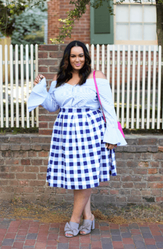 Off-Shoulder-peplum-Sleeves-top-with-gingham-skirt-328x500 23 Ways to Style Plus Size Off-the-Shoulder Tops for Women
