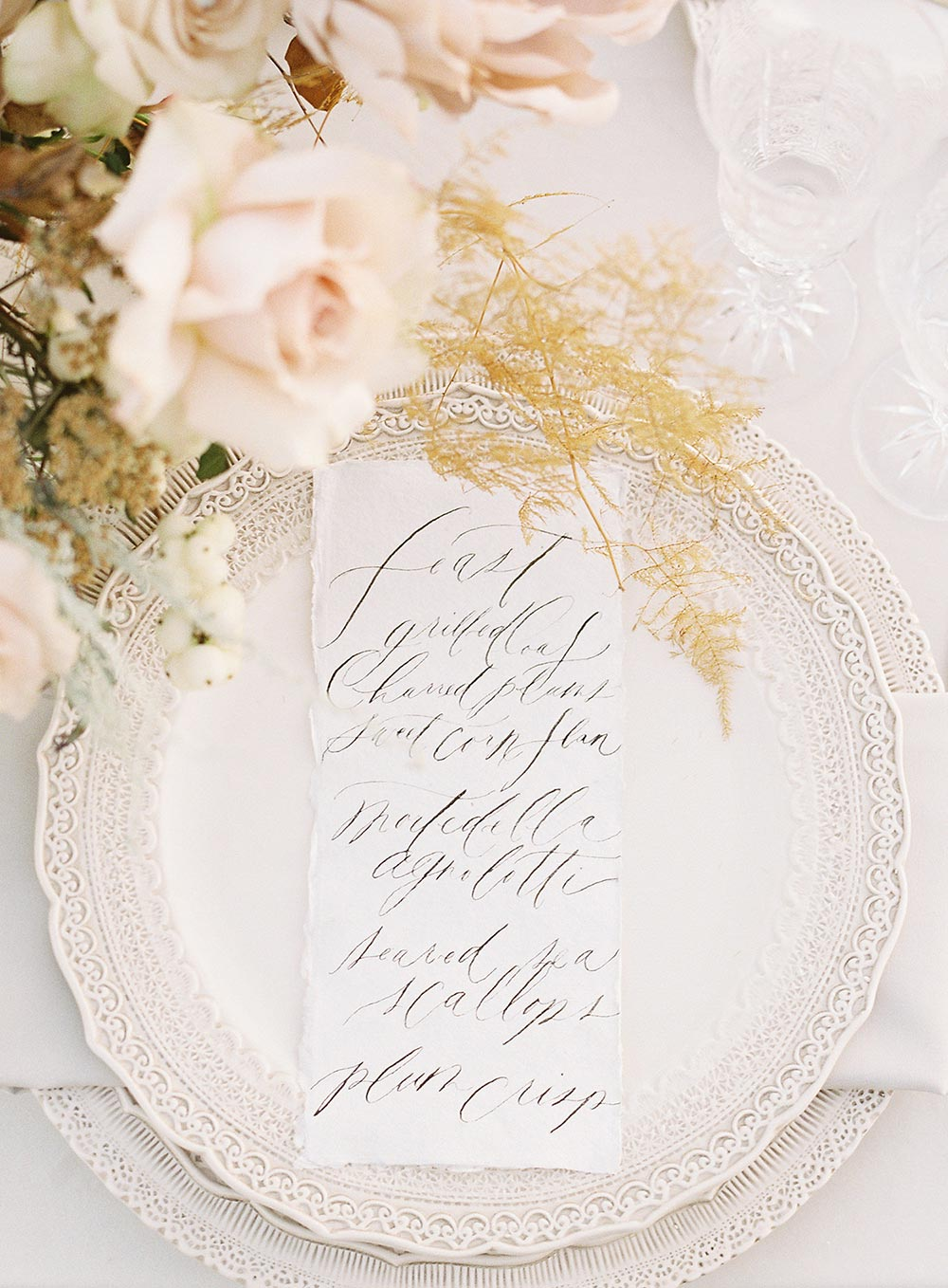fine hand written calligraphy wedding menus