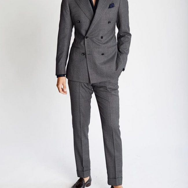 Charcoal-DB-Suit-with-Black-Loafers 30 Best Charcoal Grey Suits with Black Shoes For Men