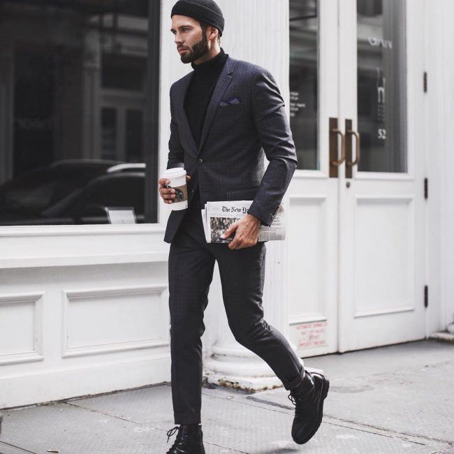 Wear-Black-Boots-Semiformally 30 Best Charcoal Grey Suits with Black Shoes For Men
