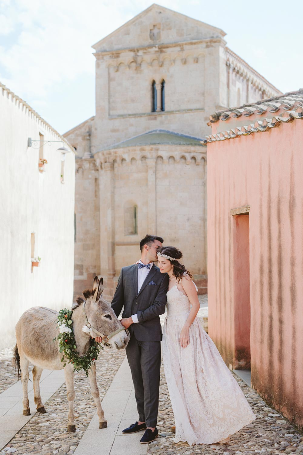 donkey with floral wreath destination wedding