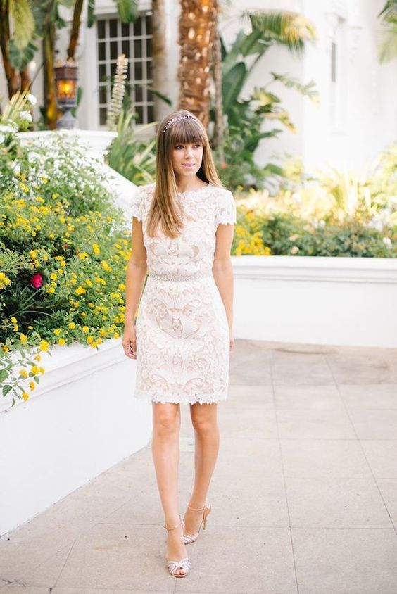 ivory lace mini dress with short sleeves, metallic shoes and an embellished belt for a cute outfit