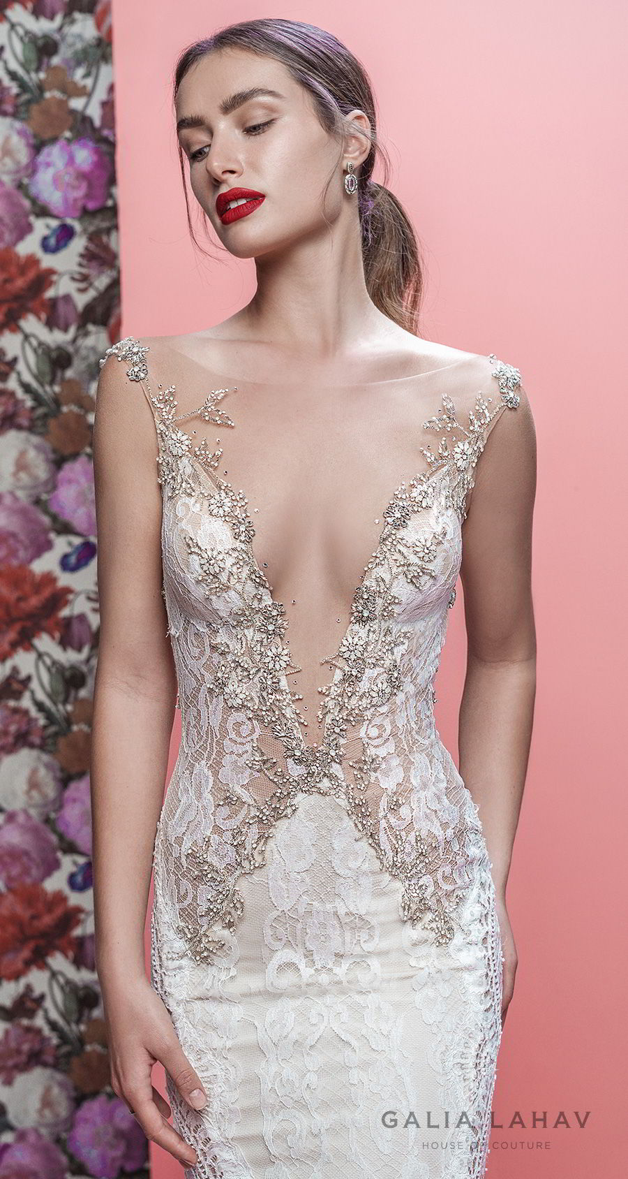 galia lahav spring 2019 bridal sleeveless deep plunging v neck full embellishment elegant sexy fit and flare wedding dress low open back chapel train (luca) zv