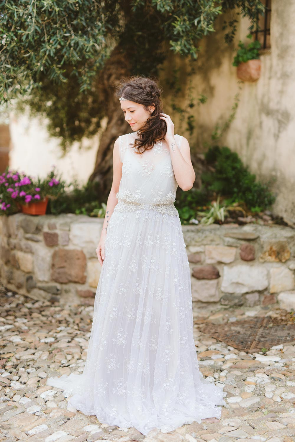 hand beaded cap sleeve wedding dress