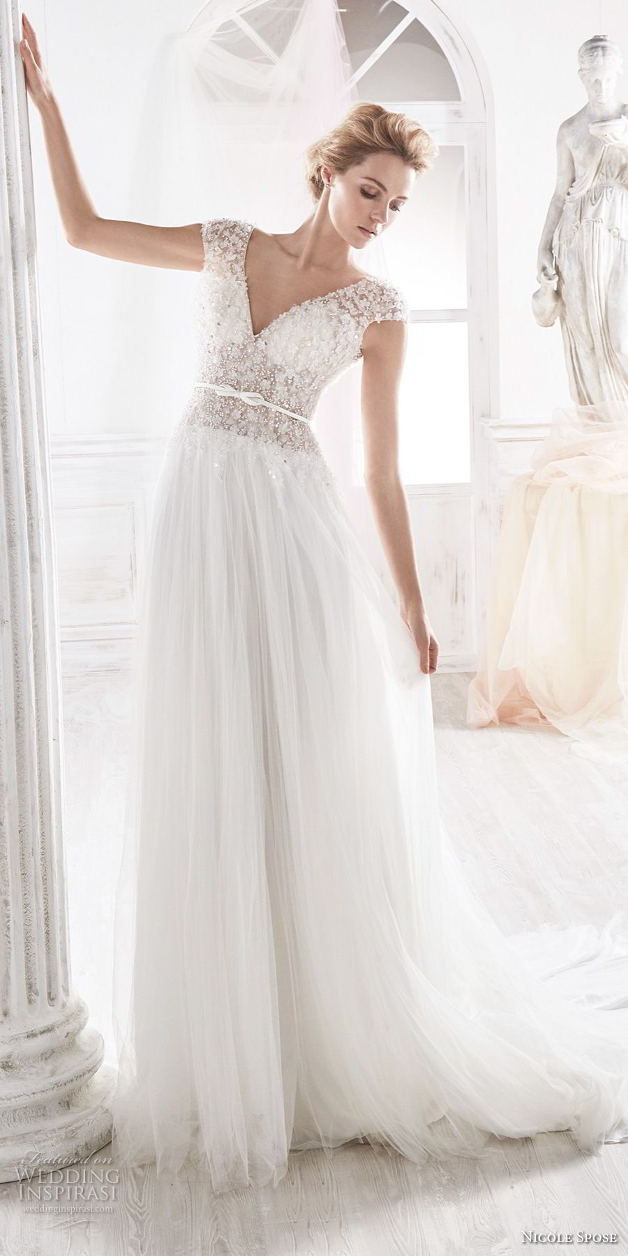 nicole spose 2018 bridal cap sleeves v neck heavily embellished bodice romantic soft a line wedding dress open v back chapel train (11) mv
