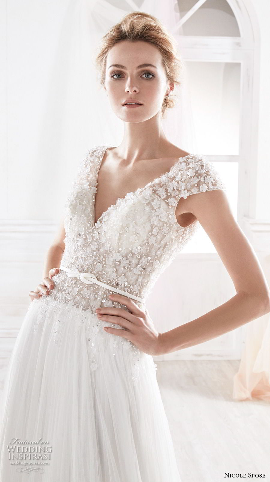 nicole spose 2018 bridal cap sleeves v neck heavily embellished bodice romantic soft a line wedding dress open v back chapel train (11) zv