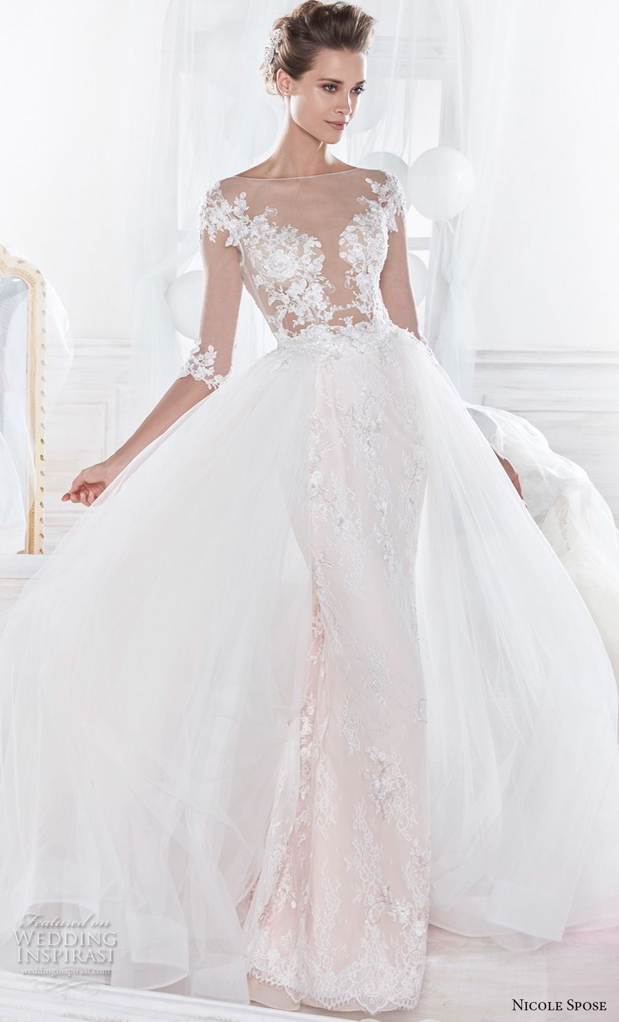 nicole spose 2018 bridal half sleeves sheer bateau v neck heavily embellished bodice princess sheath wedding dress a line overskirt sheer lace button back chapel train (15) mv